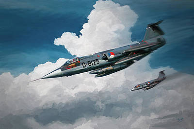 Painting - Rnlaf Lockheed F104 Starfighters On Training by Nop Briex