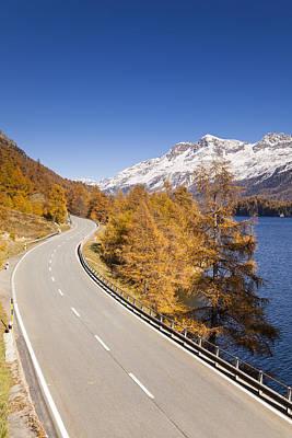 Road Along Lake Sils With Piz Corvatsch, Engadin, Switzerland Art Print