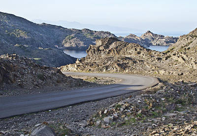 Road And Sea In A Barren Landscape Art Print by Gerard Puigmal
