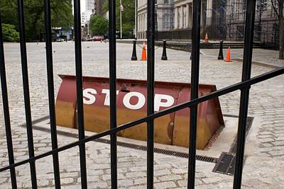 Terrorism Photograph - Road Blocker At New York City Hall. by Mark Williamson