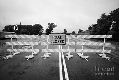 Road Closed And Highway Barrier Due To Flooding Iowa Usa United States Of America Art Print by Joe Fox
