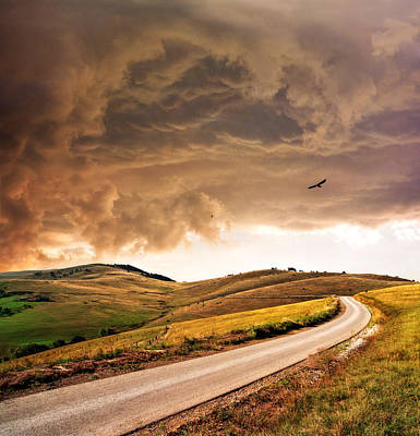 Photograph - Road Disappearing In Hills by Katarina Stefanovic