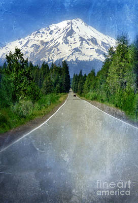 Road Leading To Snow Covered Mount Shasta Art Print by Jill Battaglia