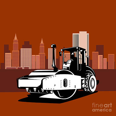 Road Roller Digital Art - Road Roller  Retro  by Aloysius Patrimonio