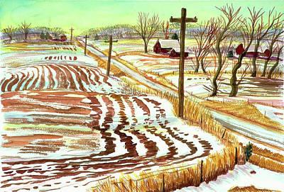Powerlines Painting - Road Side Rhythms by David Bratzel