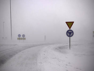 Road Signs In Snowy Landscape Art Print by K.Magnusson