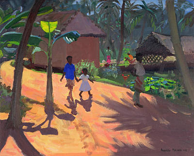Indian Children Painting - Road To Kovalum Beach by Andrew Macara