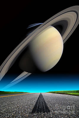 Road To Saturn Art Print by Larry Landolfi and Photo Researchers