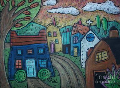 Oil Pastel Landscape Pastel - Road To Town by Karla Gerard