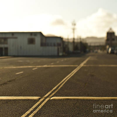 Road With Double Yellow Lines And Speed Bumps Print by Eddy Joaquim