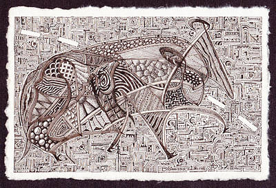 Art Print featuring the drawing Roadkill Petroglyph by Buck Buchheister