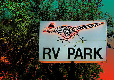 Photograph - Roadrunner Rv Park Retro Sign by Kathleen Grace