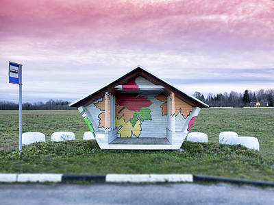 Stop Sign Images Photograph - Roadside Bus Stop In Estonia. Hay Baled by Jaak Nilson