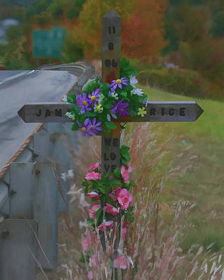 Art Print featuring the photograph Roadside Memorial by Gregory Scott