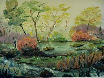 Roadside Pond Art Print by Barbara McGeachen