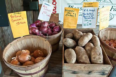Roadside Produce Stand Onions Potatoes Shallots Art Print by Denise Lett