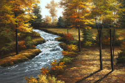 Autumn Landscape Painting - Roaring Brook by Diane Romanello