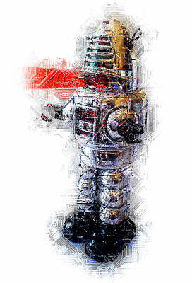 Mixed Media - Robbie The Robot by Russell Pierce