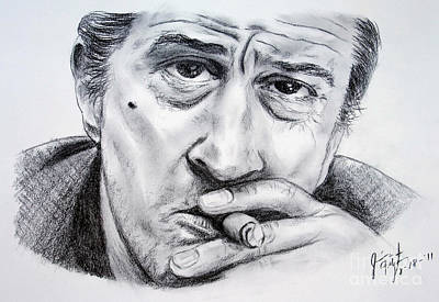 Charcoal Drawing - Robert De Niro by Jim Fitzpatrick