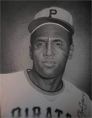 Clemente Drawing - Roberto Clemente by Christian Garcia