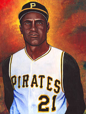 000 Hits Painting - Roberto Clemente by Steve Benton