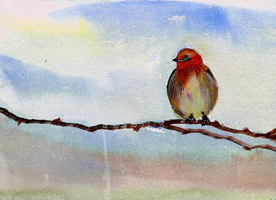 Christmas Holiday Scenery Painting - Robin 1 by Anil Nene