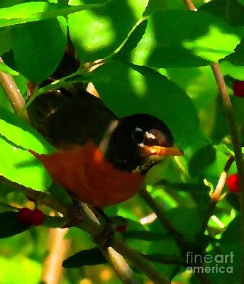 Robin Peeping Through Leaves Faux Oil Art Print by Rrrose Pix