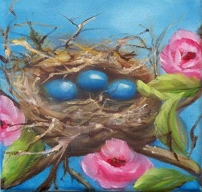 Painting - Robins And Roses by Joni McPherson