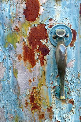 Photograph - Robins Egg Blue Door And Handle by Carla Parris