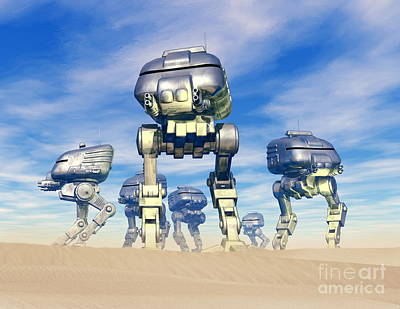 Digital Art - Robot Army by Victor Habbick Visions and Photo Researchers