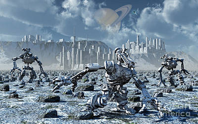 Robots Gathering Rich Mineral Deposits Art Print