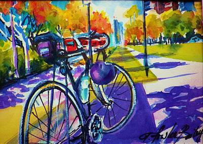 Painting - Rob's Bike Facing Gaslight District by Therese Fowler-Bailey