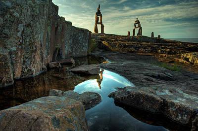 Inukshuk Photograph - Rock Balancing Grand Marais by Jakub Sisak