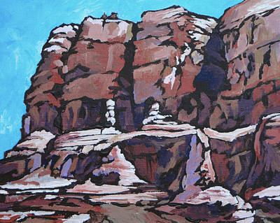 Oak Creek Painting - Rock Face by Sandy Tracey