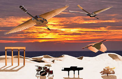 Rock Guitar Edge Mixed Media - Rock Harmony by Eric Kempson