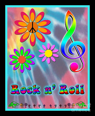 Rock Music Poster Art Print by Linda Seacord