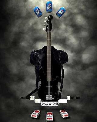 Digital Art - Rock N Roll Crest-the Bassist by Frederico Borges