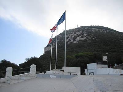Photograph - Rock Of Gibraltar Top Uk British Flag by John Shiron