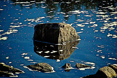 Rock Reflection In Blue Water Art Print by Andre Faubert