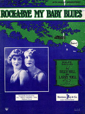 Old Sheet Music Photograph - Rockabye My Baby Blues by Mel Thompson