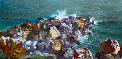 Seagull Painting - Rocks Against The Ocean  by Ylli Haruni