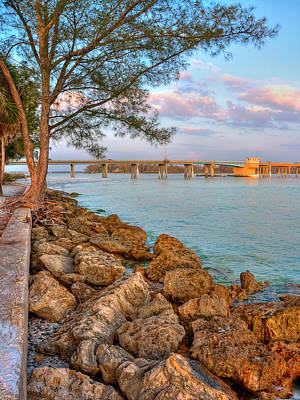 Rocks And Water Longboat Pass Bridge Art Print by Jenny Ellen Photography
