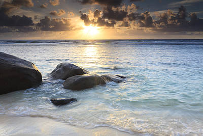 Y120817 Photograph - Rocks On Beach At Sunrise, Anse Parnel, Mahe, Seychelles by F. Lukasseck