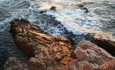 Print featuring the photograph Rocky Coast In Warm Sun by Michael Rock