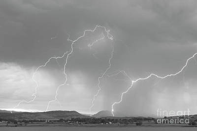 Rocky Mountain Front Range Foothills Lightning Strikes Bw Art Print by James BO  Insogna