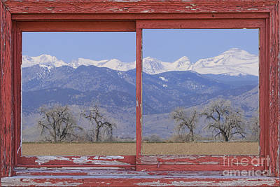 Rustic Art Photograph - Rocky Mountain Front Range Red Picture Window Frame Photo Art by James BO  Insogna