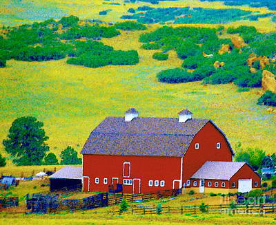 Photograph - Rocky Mountain Red Barn - A Rural Colorado Paintograph  by Christine S Zipps