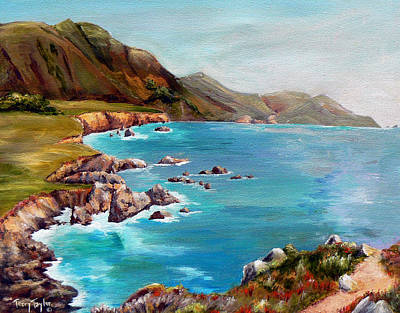 Art Print featuring the painting Rocky Point At Big Sur by Terry Taylor