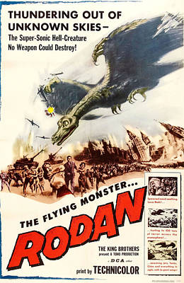1957 Movies Photograph - Rodan, 1957, Poster Art by Everett
