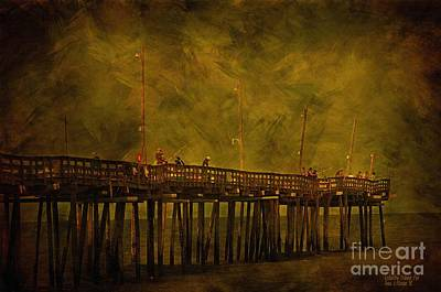 Wooden Fish Mixed Media - Rodanthe Fishing Pier At Sundown by Anne Kitzman
